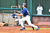 Elizabethton Twins Matt Wallner (48) swings at a pitch during a game against the Kingsport Mets at Joe O'Brien Field on July 6, 2019 in Elizabethton, Tennessee. The Twins defeated the Mets 5-3. (Tony Farlow/Four Seam Images)