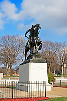 The Pony Express Monument is located at Ninth and Frederick in St Joseph, Missouri. Sculptor Herman A. MacNeil's larger-than-life bronze statue of a Pony Express rider was dedicated in 1940.