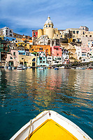 Marina di Corricella on the Isle of Procida in the Bay of Naples, from my old wooden harbor boat.