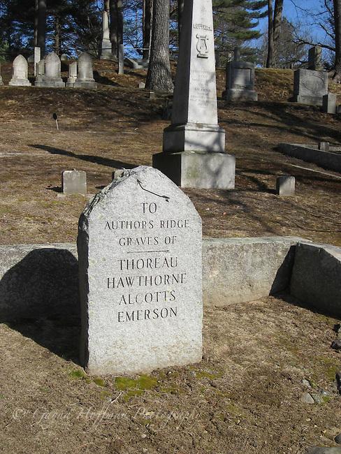 Authors Ridge stone sign, Sleepy Hollow Cemetary, Lexington, MA