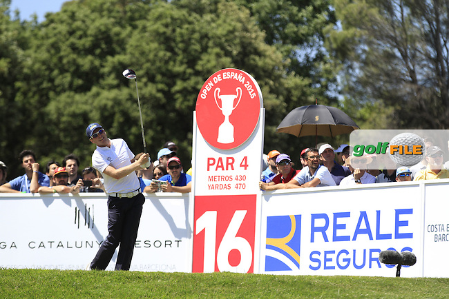 Matt Ford (ENG) on the 16th tee during Round 4 of the Open de Espana  in Club de Golf el Prat, Barcelona on Sunday 17th May 2015.<br /> Picture:  Thos Caffrey / www.golffile.ie