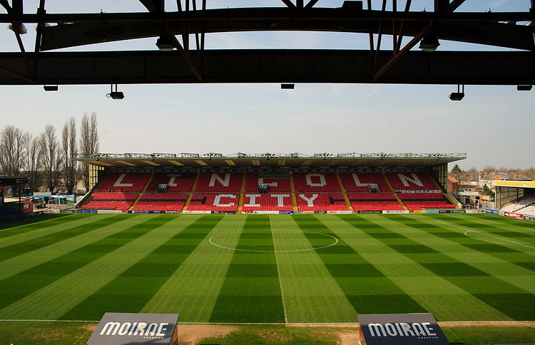 A general view of Sincil Bank, home of Lincoln City FC<br /> <br /> Photographer Andrew Vaughan/CameraSport<br /> <br /> The EFL Sky Bet League Two - Lincoln City v Macclesfield Town - Saturday 30th March 2019 - Sincil Bank - Lincoln<br /> <br /> World Copyright © 2019 CameraSport. All rights reserved. 43 Linden Ave. Countesthorpe. Leicester. England. LE8 5PG - Tel: +44 (0) 116 277 4147 - admin@camerasport.com - www.camerasport.com