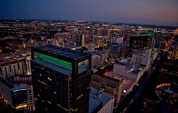 Night Aerial of Texas Medical Center   Stockyard Photos