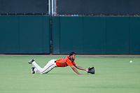 AZL Giants left fielder Aaron Bond (38) dives for a fly ball during a game against the AZL Angels on July 10, 2017 at Scottsdale Stadium in Scottsdale, Arizona. AZL Giants defeated the AZL Angels 3-2. (Zachary Lucy/Four Seam Images)