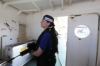 Haifa, Israel:.Tamara Raich, a 38-year-old former VIP protection officer from Zurich, Switzerland, who now runs her own international security firm, participates in a drill, during a course teaching to fight maritime terror and piracy, on a boat in Haifa Port..June 11, 2009 (Photo by Ahikam Seri).