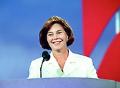 Laura Bush, wife of Governor George W. Bush (Republican of Texas) speaks at the 1996 Republican National Convention at the San Diego Convention Center in San Diego, California on August 12, 1996.  <br /> Credit: Ron Sachs / CNP