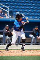 Biloxi Shuckers third baseman Angel Ortega (2) squares around to bunt during a game against the Jackson Generals on April 23, 2017 at MGM Park in Biloxi, Mississippi.  Biloxi defeated Jackson 3-2.  (Mike Janes/Four Seam Images)