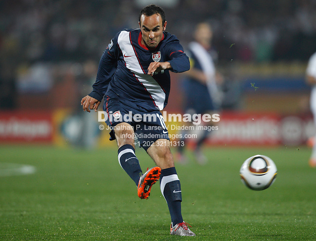 RUSTENBURG, SOUTH AFRICA - JUNE 12:  Landon Donovan of the United States cracks a shot against England during a 2010 FIFA World Cup soccer match June 12, 2010 in Rustenburg, South Africa. NO mobile use.  Editorial ONLY.   (Photograph by Jonathan P. Larsen)