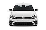 Car photography straight front view of a 2019 Volkswagen Golf R 5 Door Hatchback Front View
