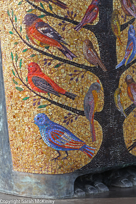 Detail of the bird mosaic on the robe of the statue of St. Francis at Mondavi Vineyard near Napa in Napa County in Northern California.