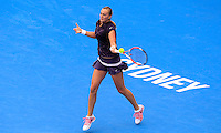 Petra Kvitova of Czech Republic hits a forehand to Tsvetana Pironkova of Bulgaria during their semi-final match at the Sydney International tennis tournament, Jan. 9, 2014.  Daniel Munoz/Viewpress IMAGE RESTRICTED TO EDITORIAL USE ONLY