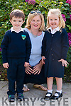 Class teacher and Principal Michelle Murphy with her new junior infants Eanna Murphy and Aoibhinn Creedon on their first day of school at Shrone NS last Monday.