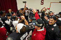 STANFORD, CA-NOVEMBER 30, 2012 - Defense celebrates after winning the PAC-12 Championship at Stanford Stadium. The Stanford Cardinal advances to the Rose Bowl with a 27-24 win over the UCLA Bruins.