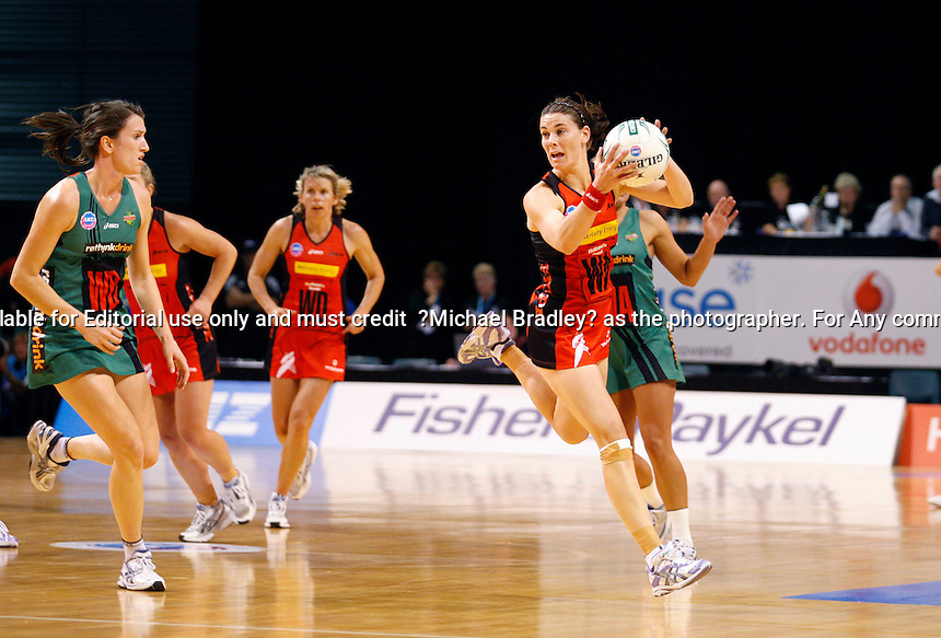 13.04.2009 Tactix Maree Bowden in action during the ANZ Championship Netball Match between the Tactix and Fever at Westpac Arena in Christchurch. Mandatory Photo Credit (Pic. Martin Hunter) ©Michael Bradley Photography