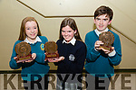 Kerry 1st year maths quiz at IT Tralee South campus on Friday Pictured Front l-r Isabelle Lynch (2nd) Mercy Mounthawk ,Aisling Harty (1st) Presentation Tralee and Timothy Grimes (3rd) Mercy Mounthawk