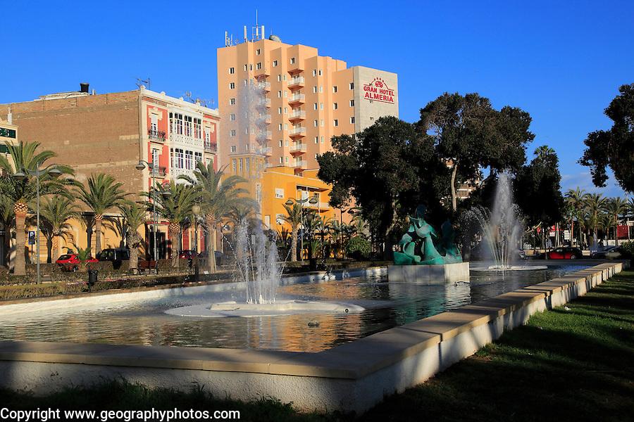 Water fountain in small park garden near Gran Hotel Almeria in the city centre of Almeria, Spain - Parque de Nicolás Salmerón