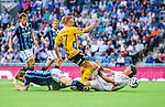 Stockholm 2014-07-07 Fotboll Allsvenskan Djurg&aring;rdens IF - IF Elfsborg :  <br /> Elfsborgs Per Frick faller i Djurg&aring;rdens straffomr&aring;de i den den andra halvleken i n&auml;rkamp med Djurg&aring;rdens m&aring;lvakt Kenneth H&ouml;ie H&oslash;ie och Djurg&aring;rdens Jesper Arvidsson <br /> (Foto: Kenta J&ouml;nsson) Nyckelord:  Djurg&aring;rden DIF Tele2 Arena Elfsborg IFE