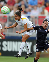 LA Sol defender Stephanie Cox (14) heads the ball away from Washington Freedom forward Lisa De Vanna (17).  The Los Angeles Sol defeated the Washington Freedom 1-0 at the Maryland SoccerPlex in Boyds, MD on Sunday July 5, 2009.