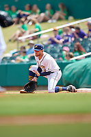 Montgomery Biscuits first baseman Dalton Kelly (9) fields a throw during a Southern League game against the Mobile BayBears on May 2, 2019 at Riverwalk Stadium in Montgomery, Alabama.  Mobile defeated Montgomery 3-1.  (Mike Janes/Four Seam Images)