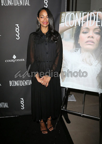 16 February 2017 - Los Angeles, California - Zoe Saldana. Los Angeles Confidential Celebrates Winter Issue With Cover Star Zoe Saldana held at 3033 Wilshire. Photo Credit: AdMedia