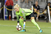 Houston, TX - Saturday July 08, 2017: Jane Campbell grabs the ball during a regular season National Women's Soccer League (NWSL) match between the Houston Dash and the Portland Thorns FC at BBVA Compass Stadium.