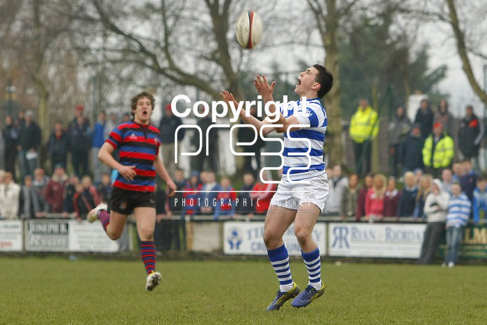 05/03/2013 Steve McMahon of Rockwell College catches a high ball against St Munchins College in the Munster Schools Senior Cup Semi Final which took place at Clanwilliam Park, Tipperary Picture: Don Moloney / Press 22
