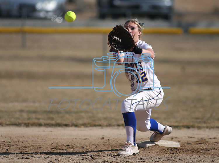 Western Nevada Wildcat Jennie Quam makes a play at second base in a college softball game against Colorado Northwestern in Carson City, Nev., on Friday, Feb. 22, 2013..Photo by Cathleen Allison