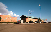 Ballparks: Adelanto, CA. Maverick's Stadium seen from parking lot. Opened 1991.