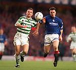 Ian Ferguson battling with Yogi Hughes during Rangers v Celtic at ibrox