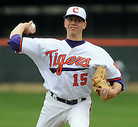 Clemson's Graham Stoneburner throws during a game between the Mercer Bears and Clemson Tigers at Doug Kingsmore Stadium on Feb. 24, 2008, in Clemson, S.C. Clemson won 10-3 and Stoneburner got the win. Photo by:  Tom Priddy/Four Seam Images