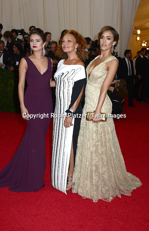 Selena Gomez, Diane Von Furstenberg and Jessica Alba attends the Costume Institute Benefit on May 5, 2014 at the Metropolitan Museum of Art in New York City, NY, USA. The gala celebrated the opening of Charles James: Beyond Fashion and the new Anna Wintour Costume Center.