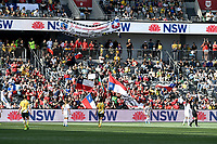 9th November 2019; Bankwest Stadium, Parramatta, New South Wales, Australia; International Womens Friendly Football, Australia versus Chile; Chile fans celebrate their team scoring to make it 2-1 to Australia in the 89th minute - Editorial Use