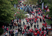 Fans congregate outside Ohio Stadium before a NCAA college football game between the Ohio State Buckeyes and the Minnesota Golden Gophers on Saturday, October 13, 2018 at Ohio Stadium in Columbus, Ohio. [Joshua A. Bickel/Dispatch]