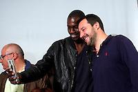 Matteo Salvini si fa un selfie con un ragazzo di colore<br /> Abbazia di Fiastra, Marche 25-05-2015 Matteo Salvini all' Abbazia di Fiastra<br /> Photo Samantha Zucchi Insidefoto