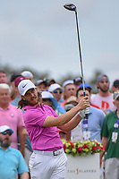 Tommy Fleetwood (ENG) watches his tee shot on 1 during round 4 of The Players Championship, TPC Sawgrass, at Ponte Vedra, Florida, USA. 5/13/2018.<br /> Picture: Golffile | Ken Murray<br /> <br /> <br /> All photo usage must carry mandatory copyright credit (&copy; Golffile | Ken Murray)