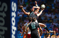 PICTURE BY VAUGHN RIDLEY/SWPIX.COM - Rugby League - Super League Magic Weekend - Catalans Dragons v London Broncos - Eithad Stadium, Manchester, England - 27/05/12 - London's Dan Sarginson wins a high ball.