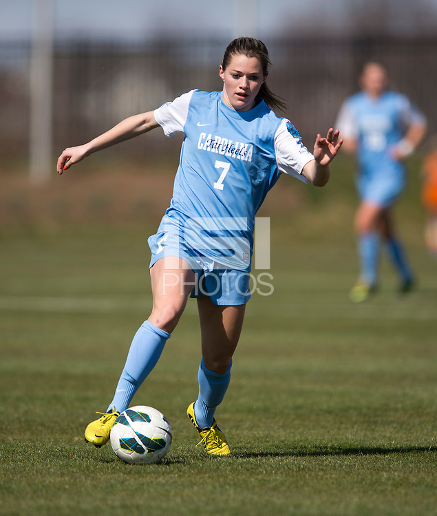 Kealia Ohai (7) of North Carolina brings the ball up the field during the game at the Maryland SportsPlex in Boyds, MD.  The Washington Spirit defeated the North Carolina Tar Heels in a preseason exhibition, 2-0.