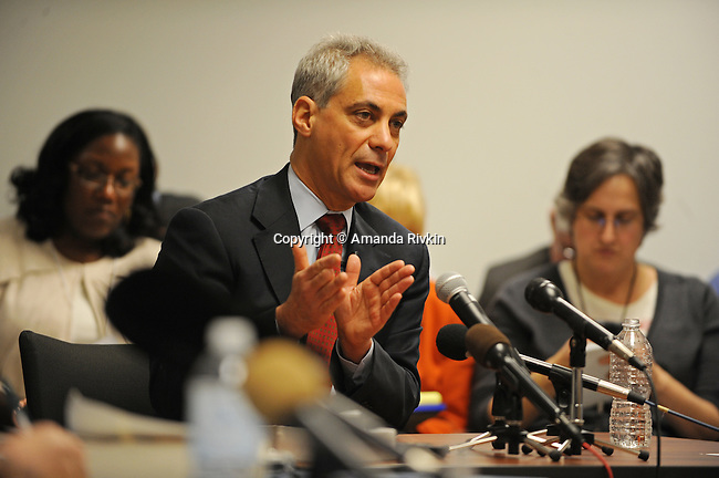 Rahm Emanuel appears on the witness stand to testify at his residency hearing concerning his eligibility to run for mayor of Chicago in a basement Chicago Board of Elections conference room in Chicago, Illinois on December 14, 2010.