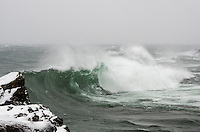 Large waves on Lake Superior during a January storm. Marquette, MI