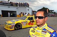 Jul. 4, 2008; Daytona Beach, FL, USA; NASCAR Sprint Cup Series driver Juan Pablo Montoya during qualifying for the Coke Zero 400 at Daytona International Speedway. Mandatory Credit: Mark J. Rebilas-