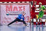 Eskilstuna 2014-05-15 Handboll SM-semifinal Eskilstuna Guif - Alings&aring;s HK :  <br /> Eskilstuna Guif m&aring;lvakt Aron Rafn Edvardsson har r&auml;ddat ett skott av Alings&aring;s spelare<br /> (Foto: Kenta J&ouml;nsson) Nyckelord:  Eskilstuna Guif Sporthallen Alings&aring;s AHK SM Semifinal Semi