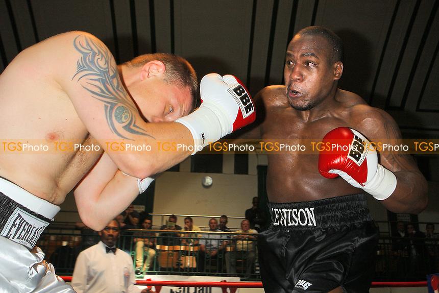 Ian Lewinson (black shorts) defeats Igoris Borucha in a Heavyweight boxing contest at York Hall, Bethnal Green, pormoted by Left Jab / Miranda Carter - 20/06/10 - MANDATORY CREDIT: Gavin Ellis/TGSPHOTO - Self billing applies where appropriate - Tel: 0845 094 6026