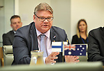Timo Soini, Foeign Minister of Finland, speaks during a meeting with Australian trade officials, at Parliament House, Canberra, Monday, February 29, 2016. AFP PHOTO/ MARK GRAHAM