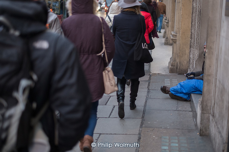 Doorway sleeping place of a homeless rough sleeper, Piccadilly, London