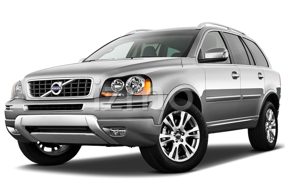Low aggressive front three quarter view of a 2012 Volvo XC90.