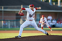 Auburn Doubledays starting pitcher Seth Romero (21) delivers a pitch during a game against the Connecticut Tigers on August 8, 2017 at Falcon Park in Auburn, New York.  Auburn defeated Connecticut 7-4.  (Mike Janes/Four Seam Images)
