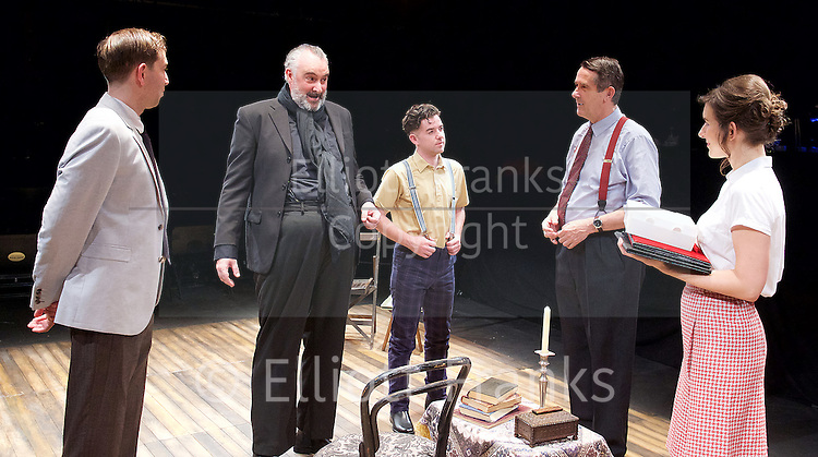 Orson&rsquo;s Shadow by Austin Pendleton<br /> at Southwark Playhouse, London, Great Britain <br /> press photocall <br /> 1st July 2015 <br /> <br /> Edward Bennett as Kenneth Tynan<br /> John Hodgkinson as Orson Welles<br /> Ciaran O&rsquo;Brien as Sean<br /> Adrian Lukis as Laurence Olivier<br /> Louise Ford as Joan Plowright<br /> <br /> <br /> Photograph by Elliott Franks <br /> Image licensed to Elliott Franks Photography Services