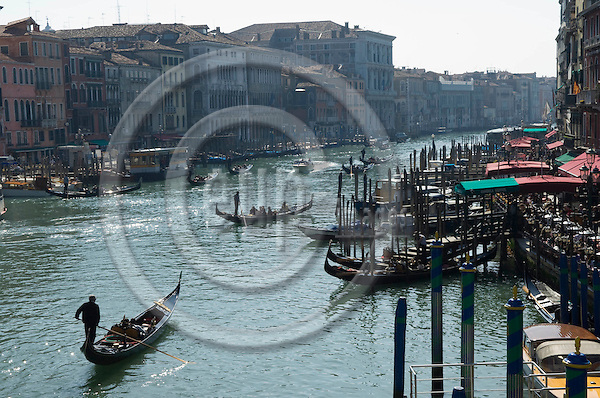 Venice-Italy - March 28, 2010 -- Gondolas on Grand Canal / Canal Grande (not: Canale Grande) seen from Rialto Bridge -- infrastructure, transport, water -- Photo: Horst Wagner / eup-images