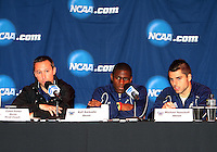 Coach Caleb Porter and Kofi Sarkodie #8 and Michael Nanchoff #9 of the University of Akron at a post game press conference after the 2010 College Cup semi-final against the University of Michigan at Harder Stadium, on December 10 2010, in Santa Barbara, California.Akron won 2-1.