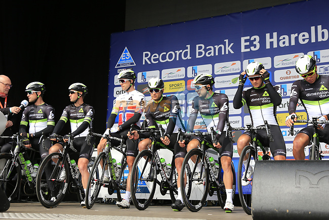 Team Dimension Data presented to the crowd before the start of the 60th edition of the Record Bank E3 Harelbeke 2017, Flanders, Belgium. 24th March 2017.<br /> Picture: Eoin Clarke | Cyclefile<br /> <br /> <br /> All photos usage must carry mandatory copyright credit (&copy; Cyclefile | Eoin Clarke)